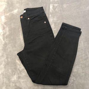 Good American Good Waist Black Cropped Jeans 6 28